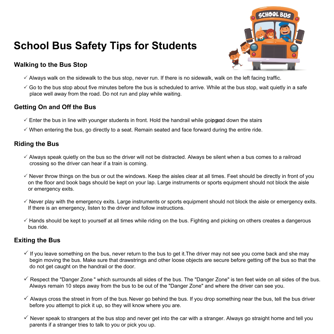 School Bus Safety Rules Printable