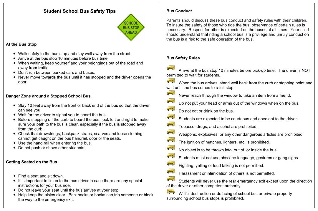 Printable School Bus Rules