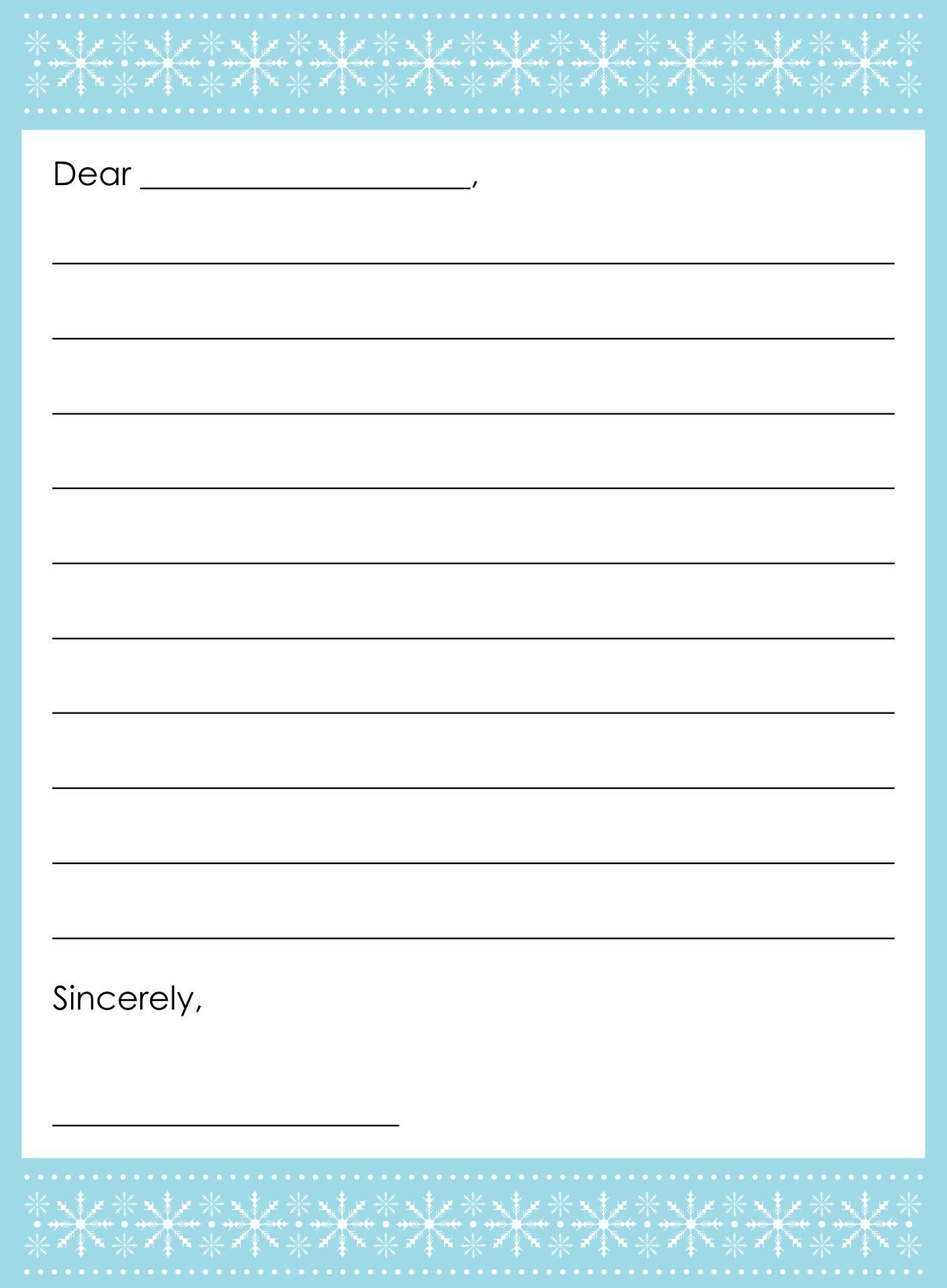 Snowflake Letter Printable Template