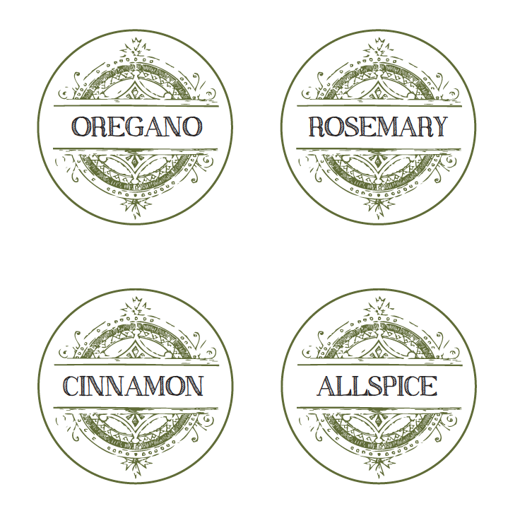 6 Images of Free Printable Round Spice Jar Labels