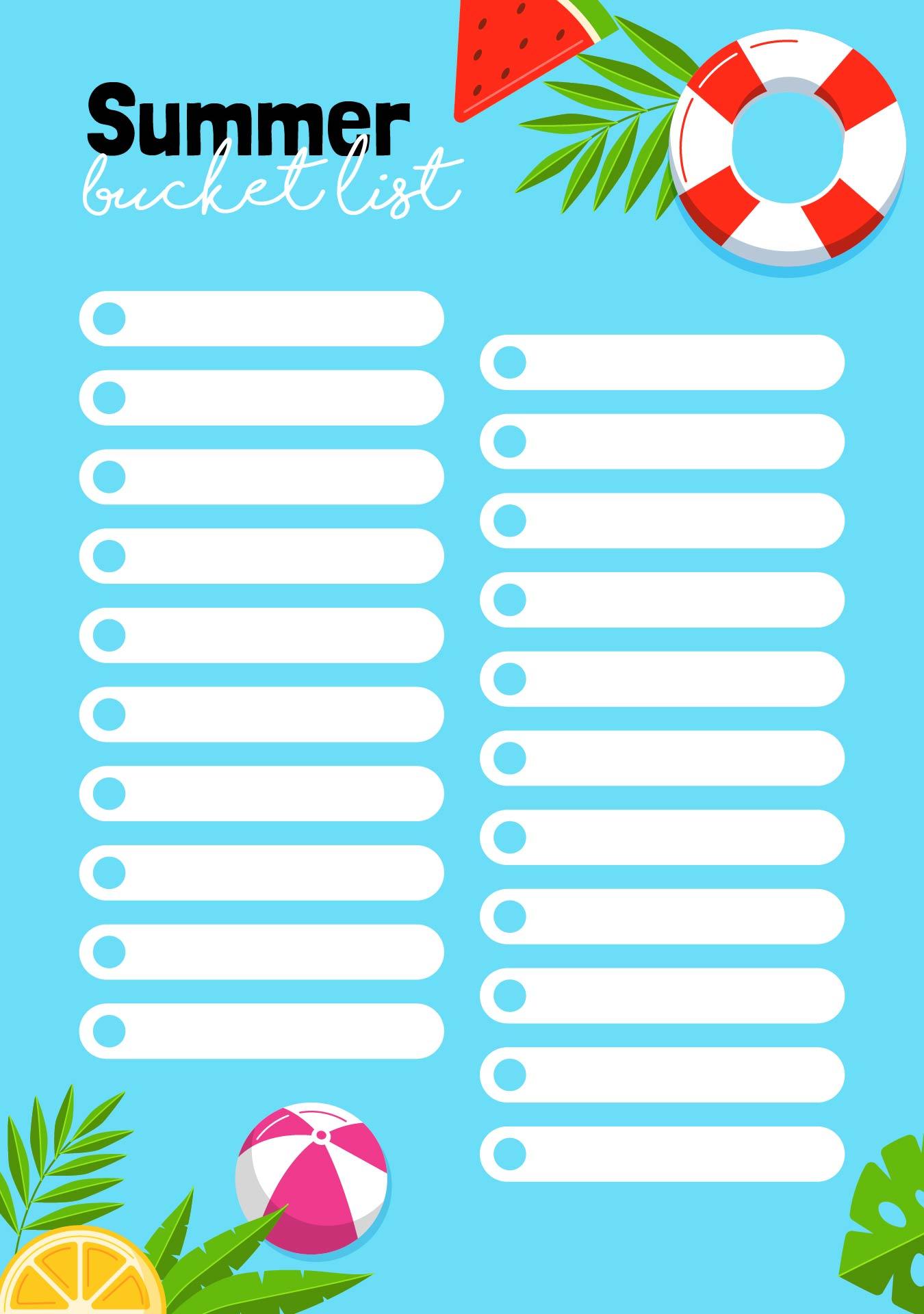 Summer Bucket List Template Printable