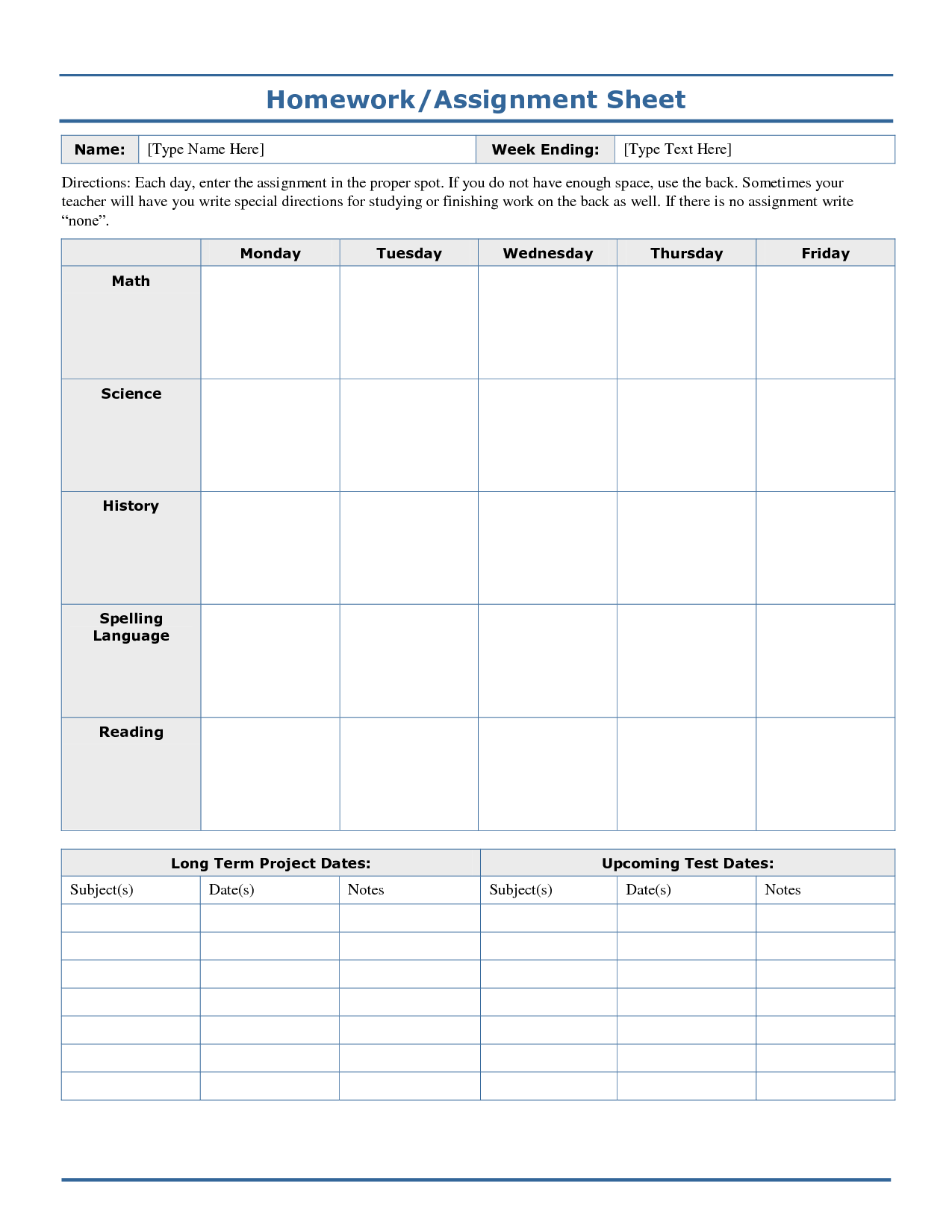 Assignment template