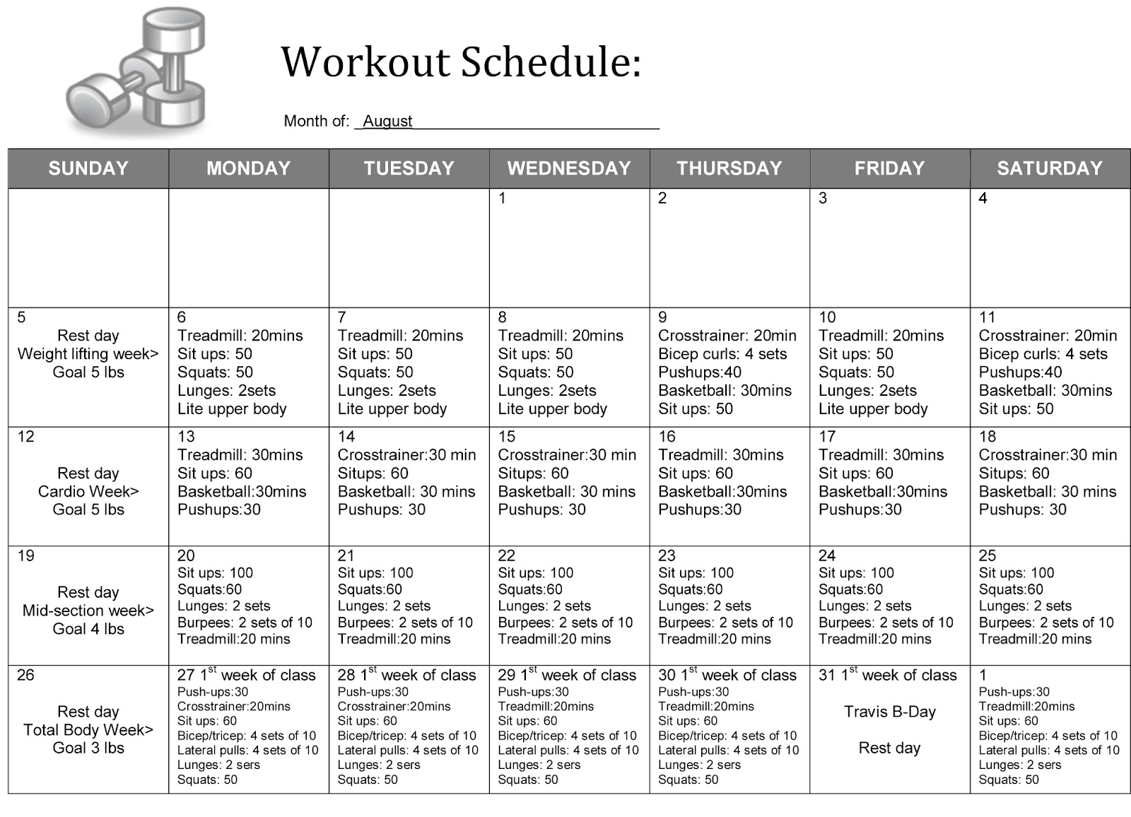5 Best Images of Weight Lifting Schedule Printable ...