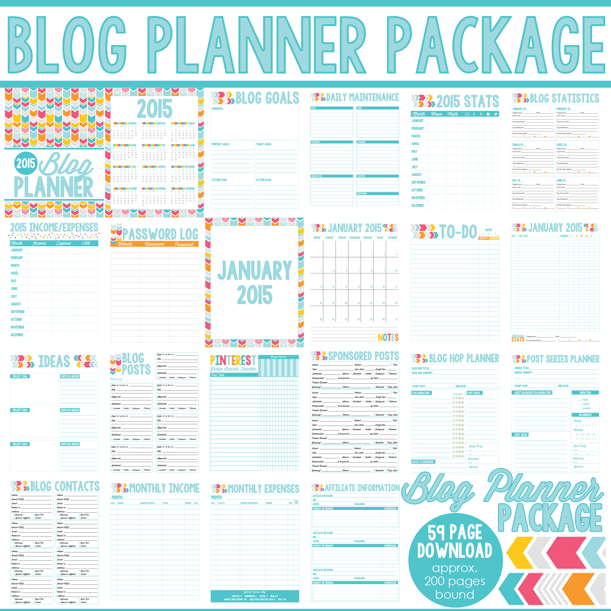 5 Images of 2015 Printable Blog Planner