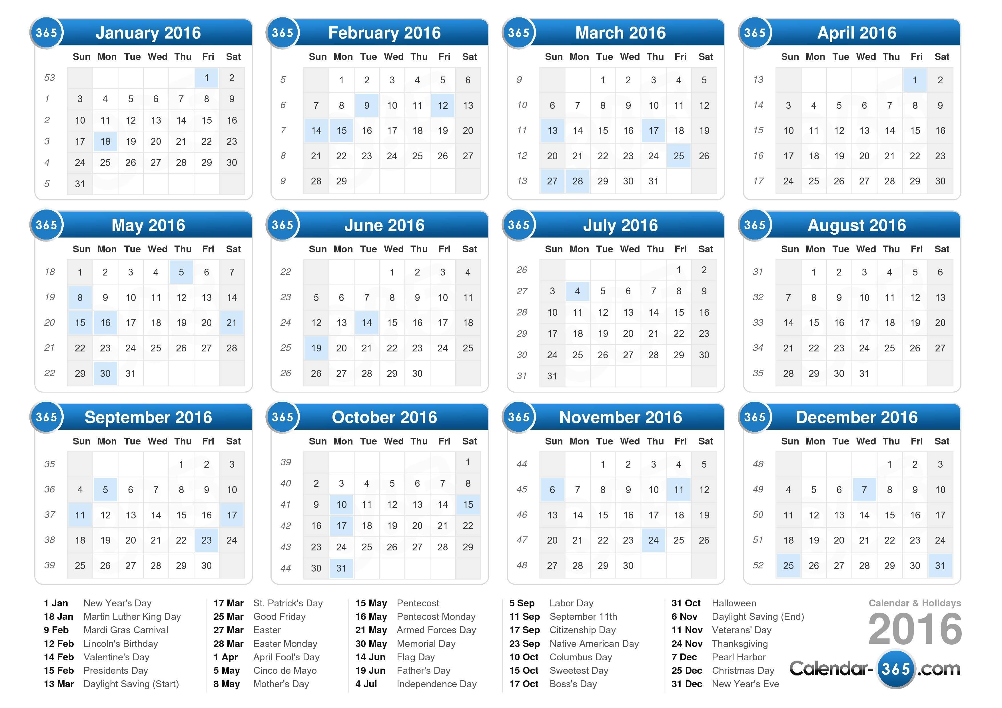 2016 Calendar with Weeks