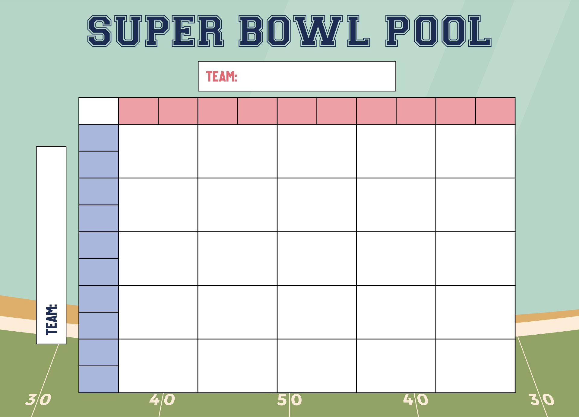 6 Images of Printable 50 Square Football Pool Grid