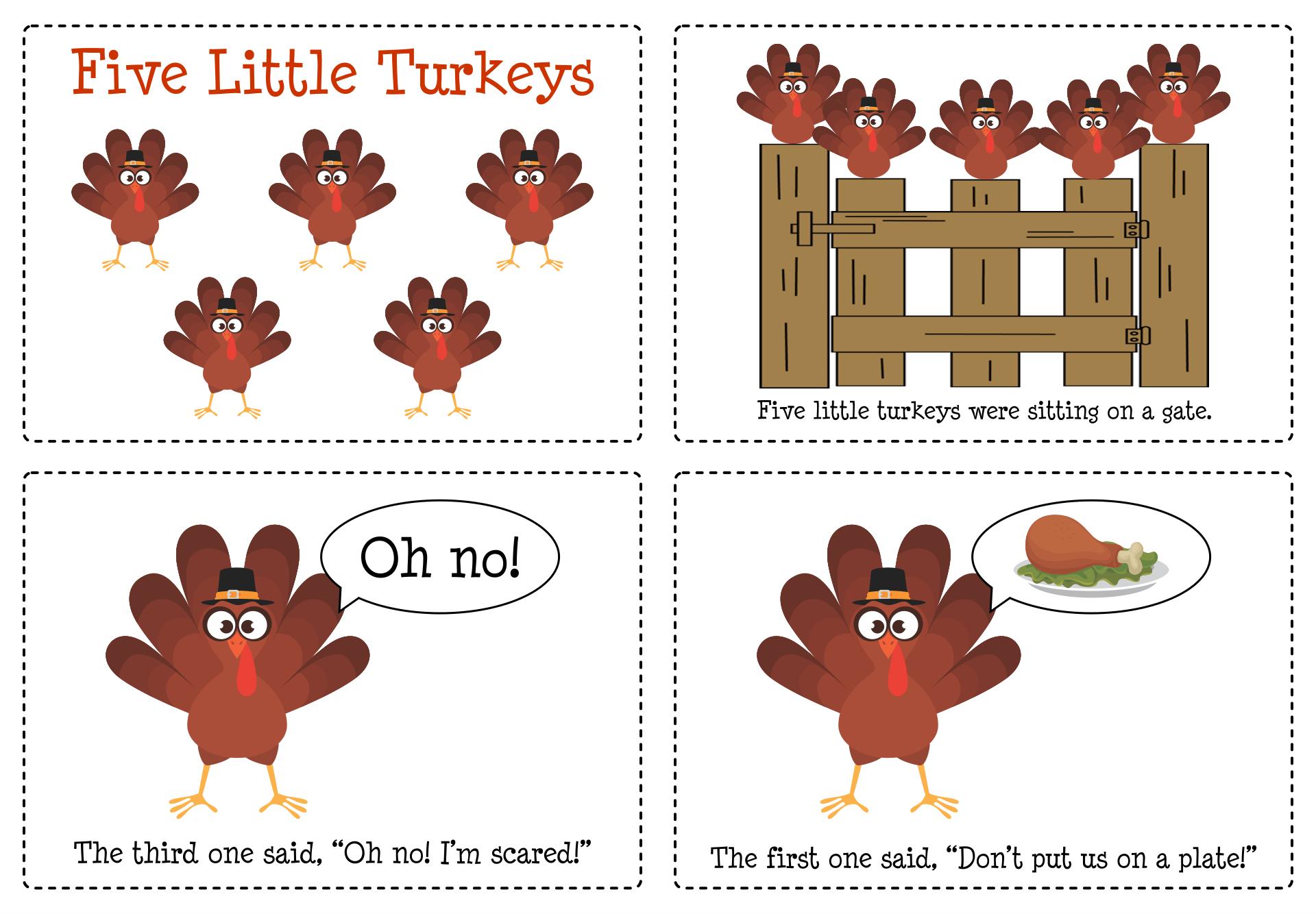 5 Little Turkeys Printable Book