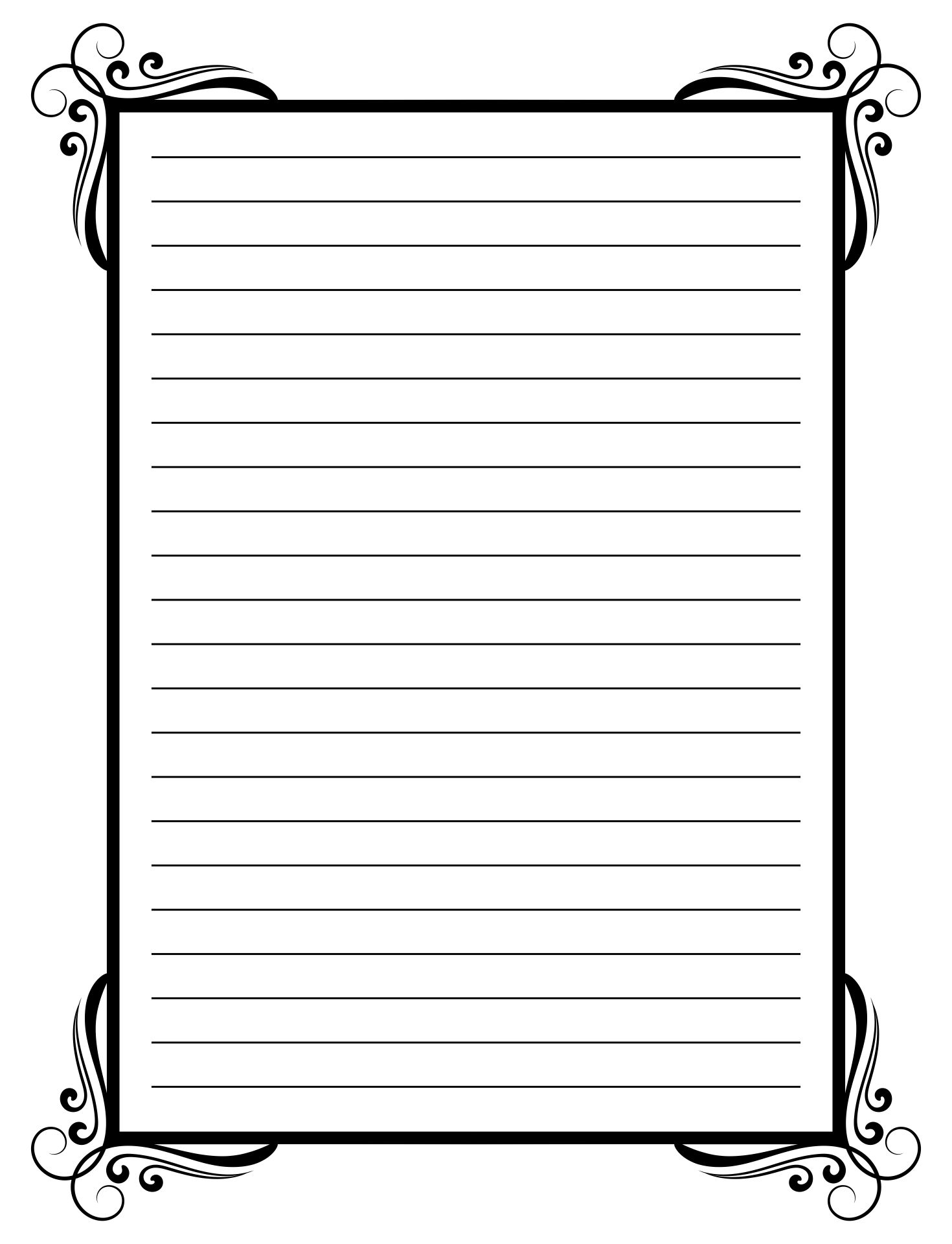 Black and White Printable Lined Stationery Paper