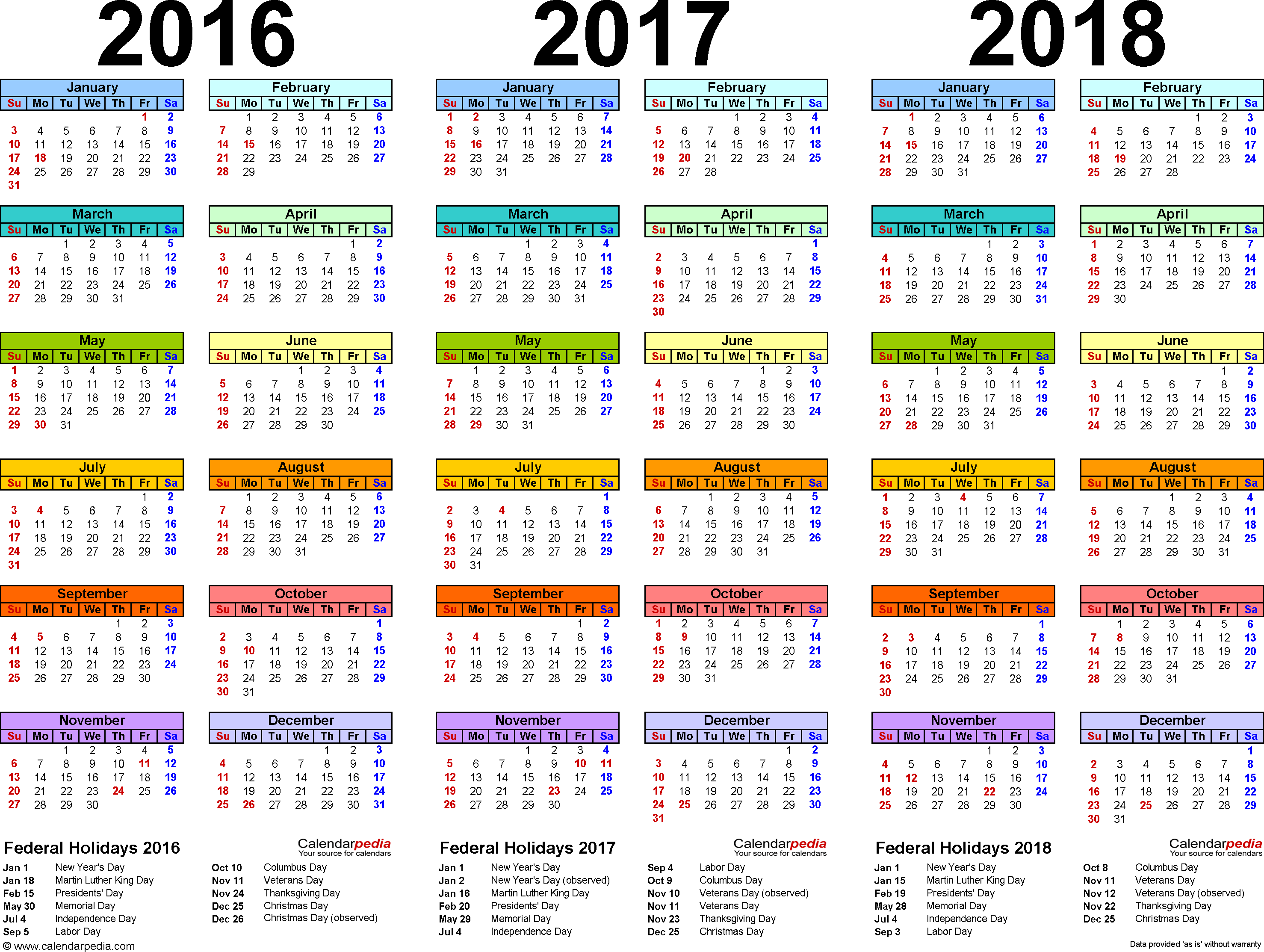 7 Images of Year 2018 Holiday Calendar Printable