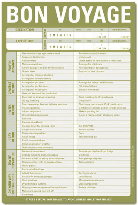 7 Best Images Of Travel Checklist Printable Printable
