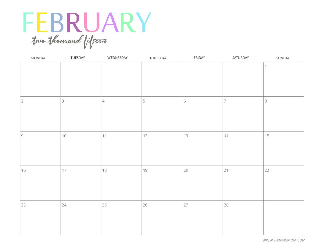 6 Images of Cute February 2015 Calendar Printable Free
