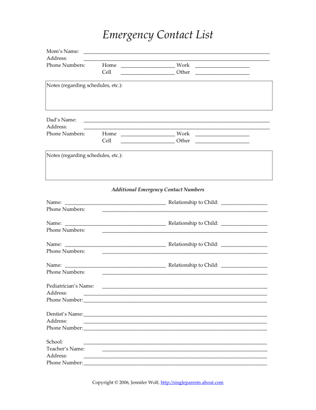5 Images of Employee Emergency Contact Printable Form