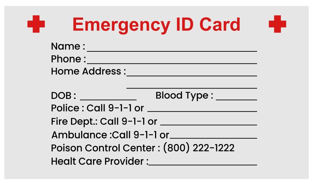 Emergency ID Card Templates Free