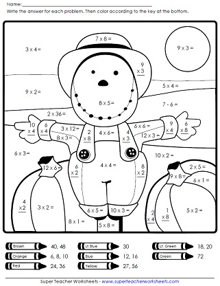 First Grade Fall Math Coloring Worksheets