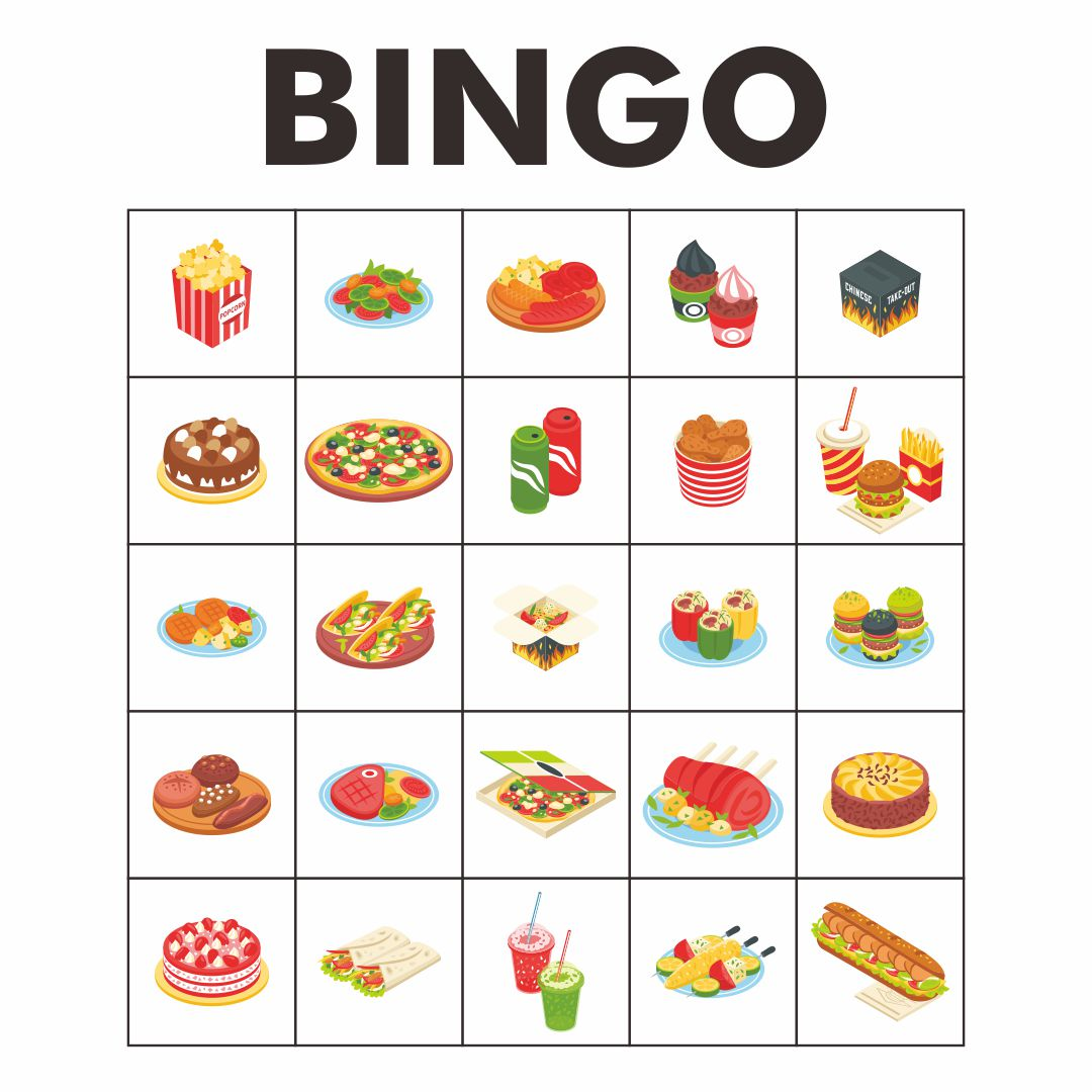 Food Bingo Cards for Kids