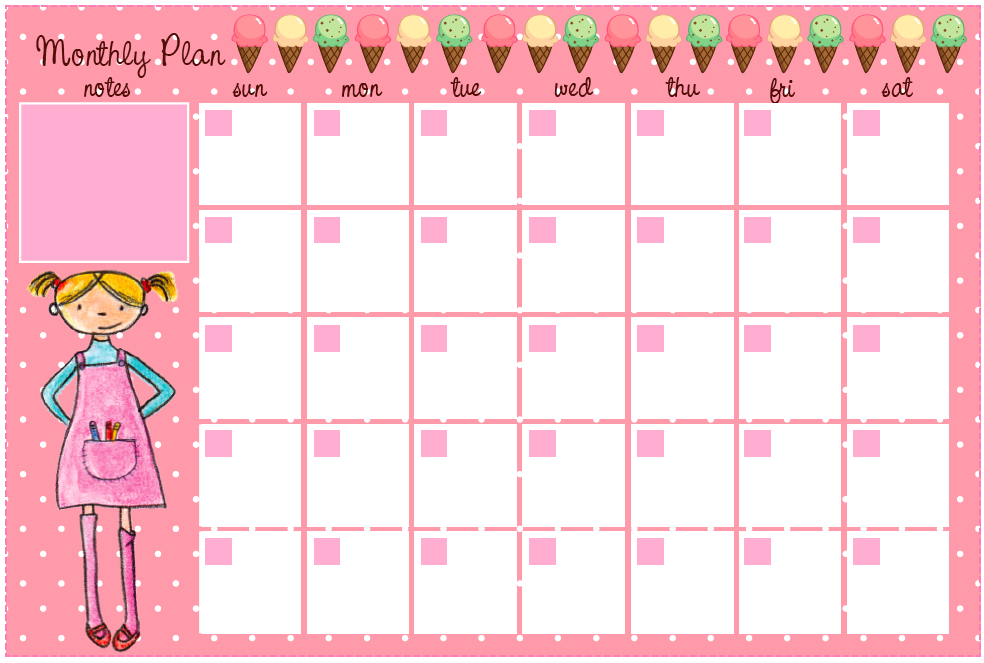Free Cute Printable Monthly Planner