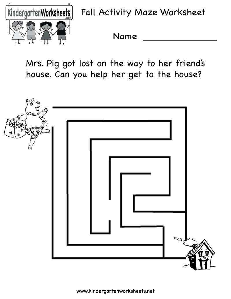 Free Kindergarten Maze Worksheets