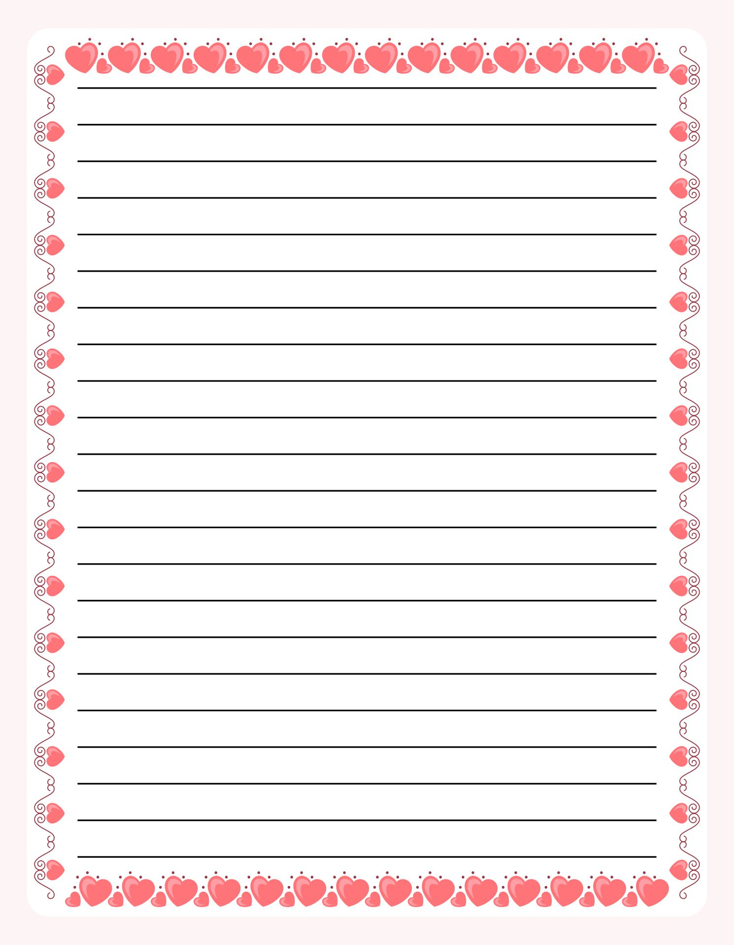 Printable Border Lined Writing Paper
