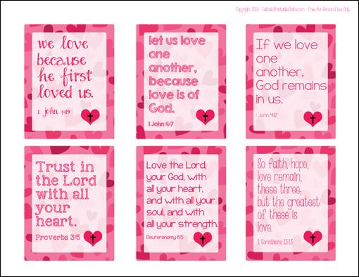 Free Printable Christian Bible Verse Valentine Cards