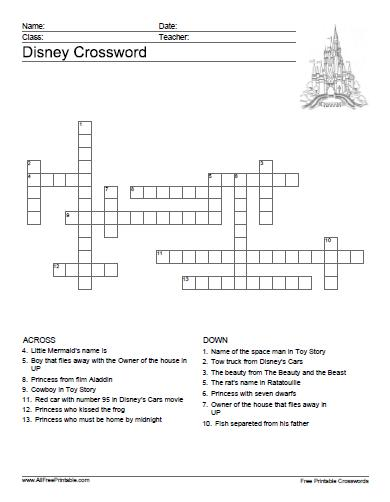 Free Printable Disney Crossword Puzzles