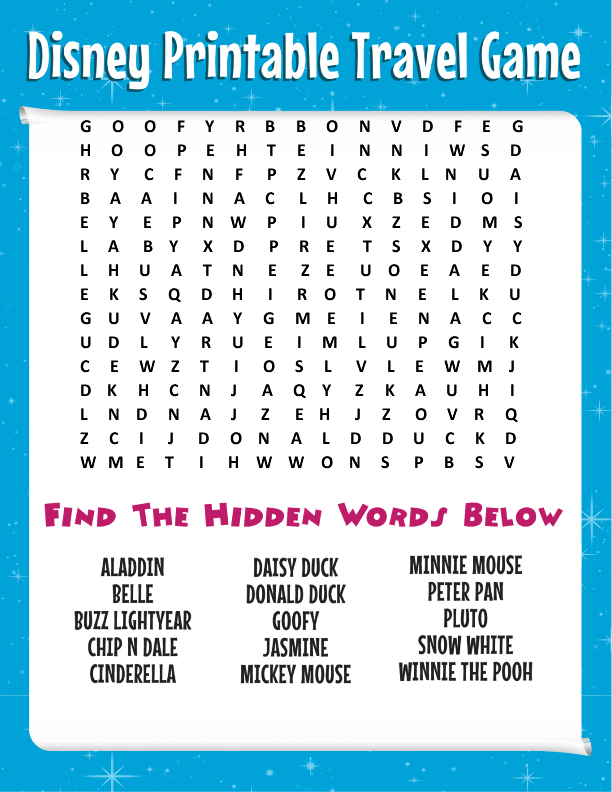 Free Printable Disney Word Search Games