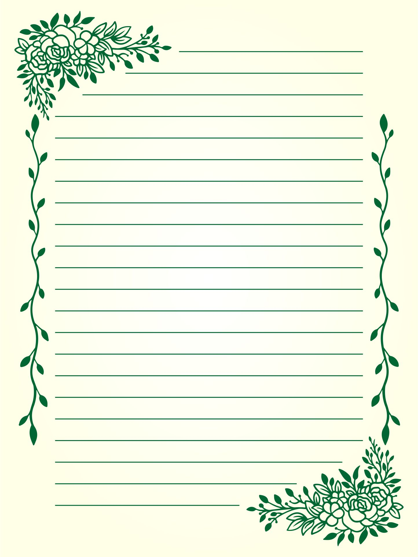 Printable Lined Stationery Paper