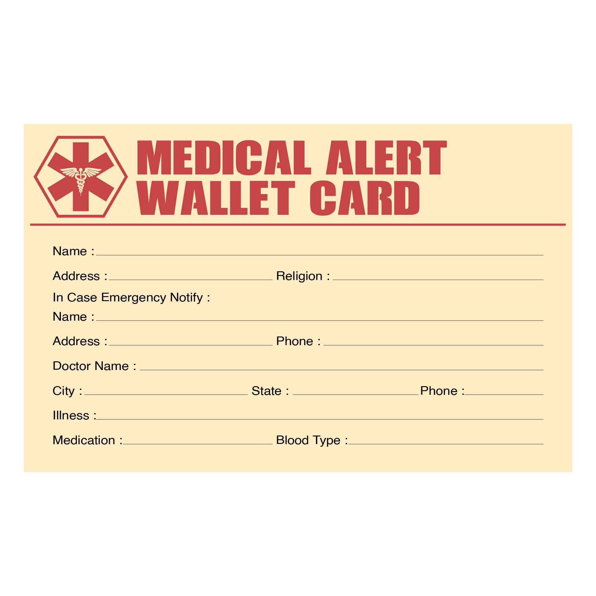 Printable Medical Alert Card