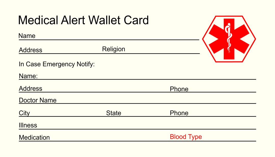 Printable Medical ID Card