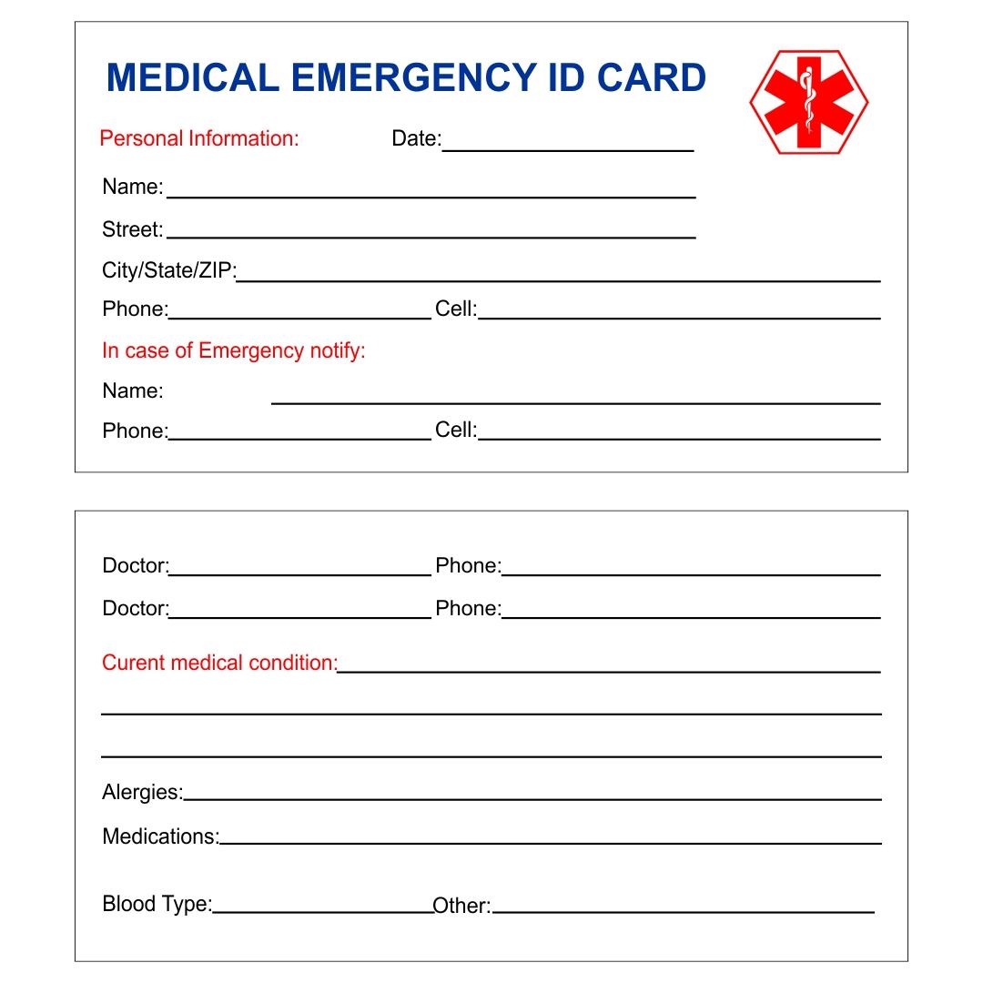 Printable Medical Wallet ID Cards