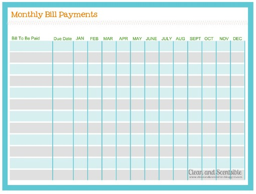 5 Images of Printable Monthly Bill Payment Log