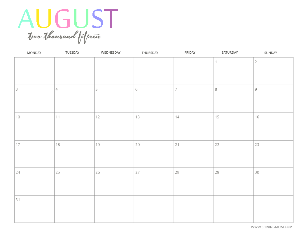 6 Images of August 2015 Monthly Planner Printable
