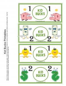 Printable Reward Bucks for Kids
