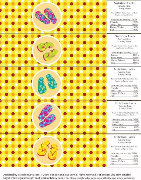 7 Images of Summer Water Party Printables