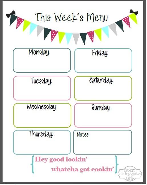 4 Images of Printable Weekly Menu Plan