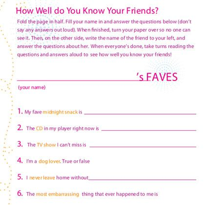 6 Images of Friendship Test Printable