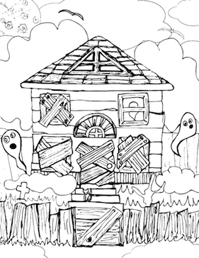 4 Images of Scary Haunted Houses Coloring Pages Printable