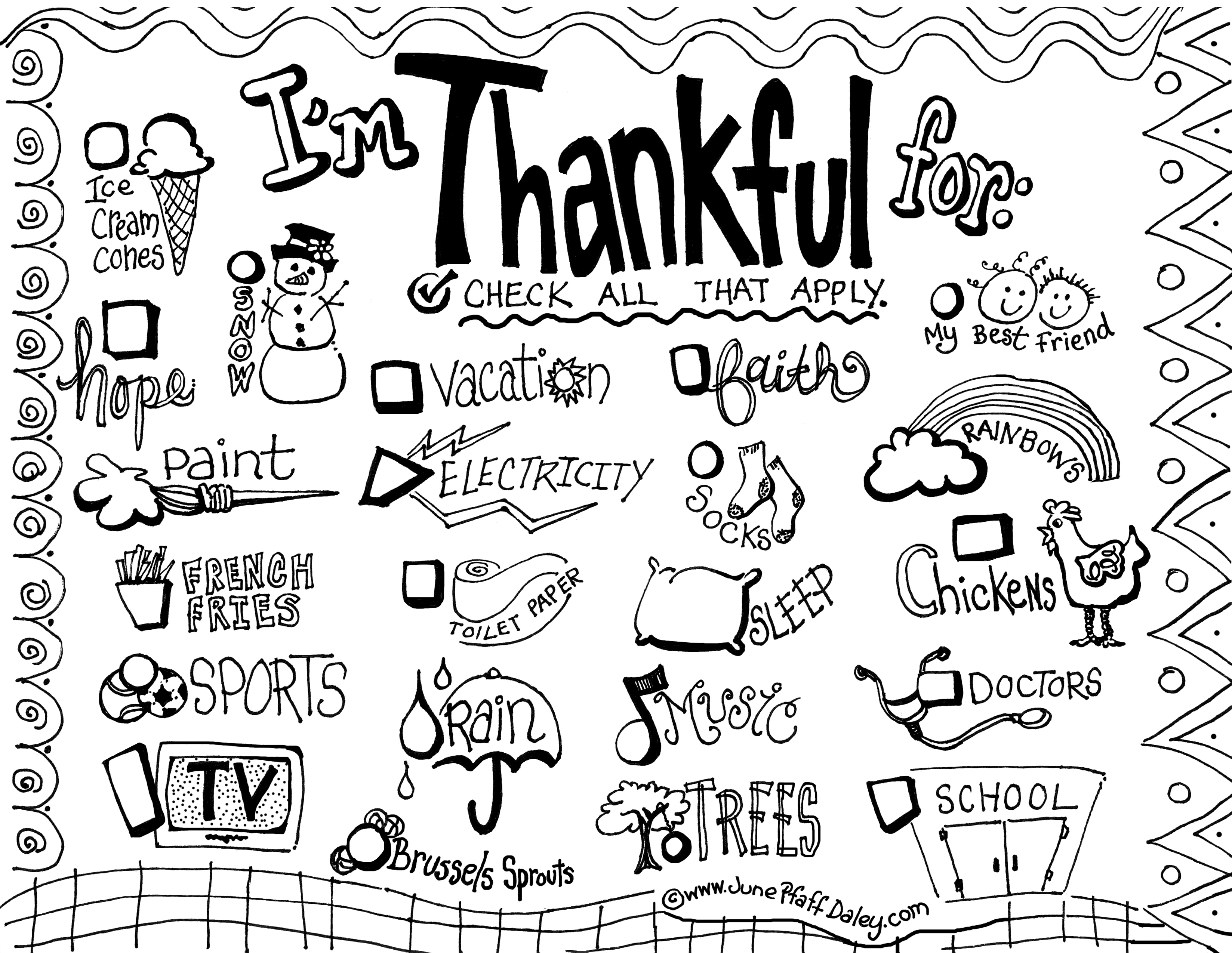 "I Am Thankful For"" Activity Sheet – Alice the Chalice 