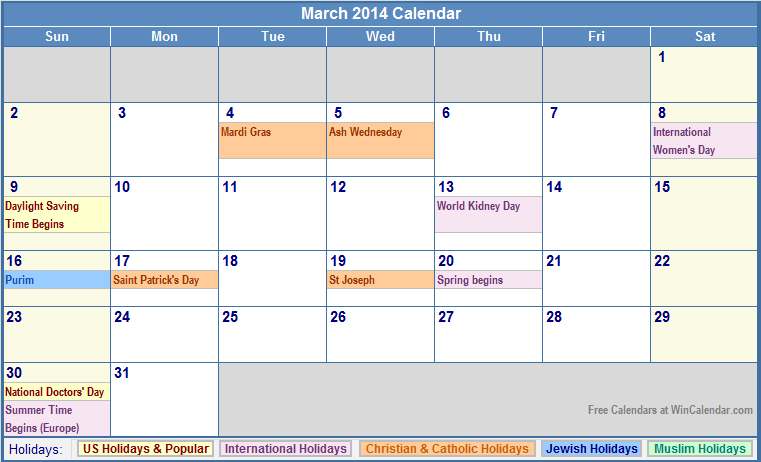 Calendar March 2014 : Best images of printable calendar with holidays