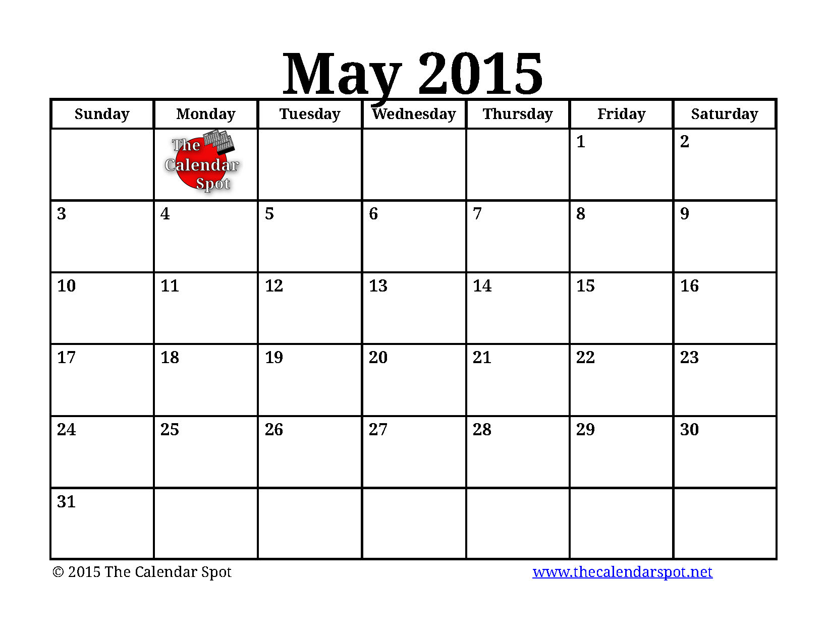 7 Images of Blank May Calendar 2015 Printable