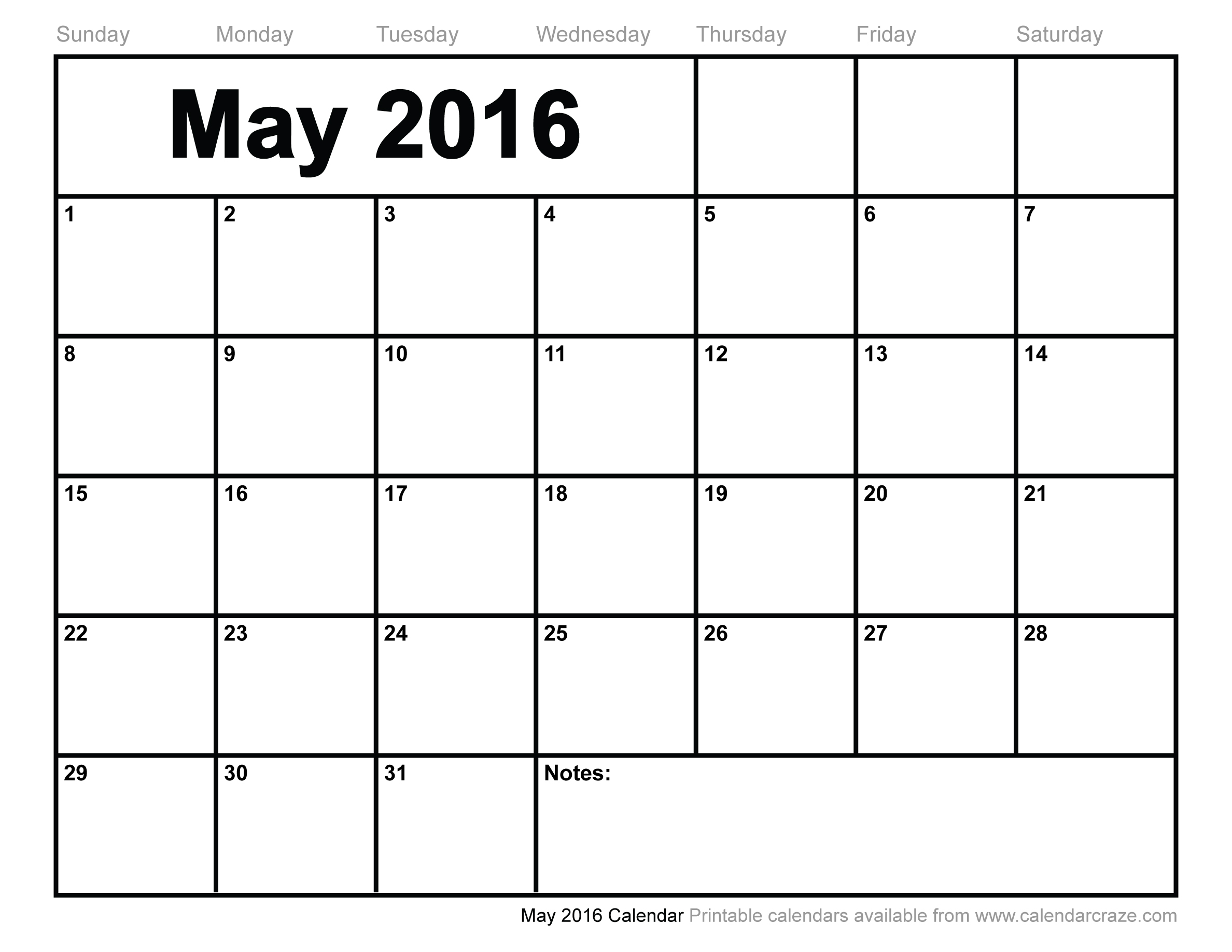 7 Images of Printable May Calendar 2016