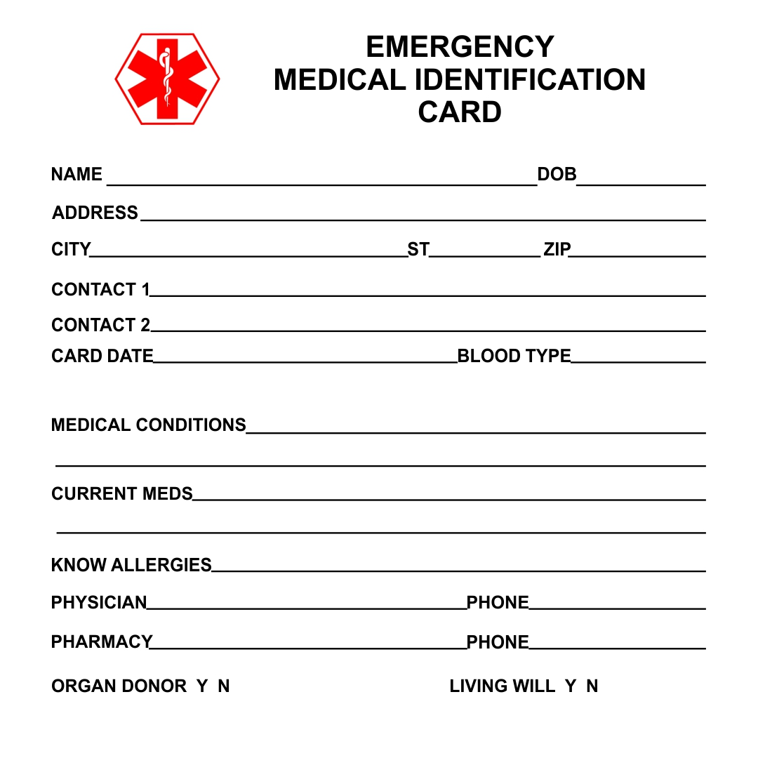 Medical Alert Wallet Card Printable