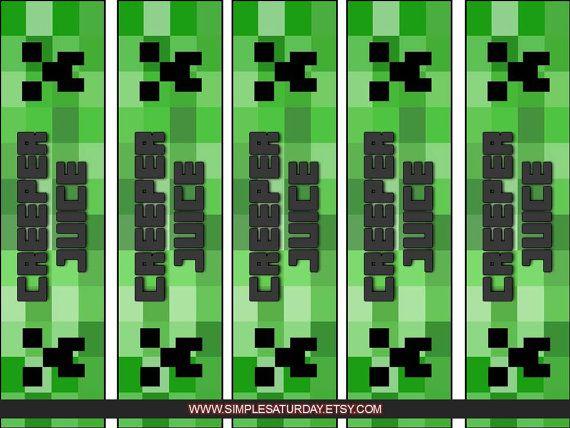 6 Images of Minecraft Creeper Juice Printable Free