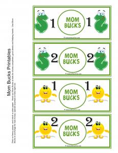 Mom Bucks Printable