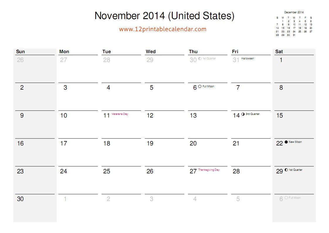 November Calendar 2014 Printable : Best images of november calendar with holidays