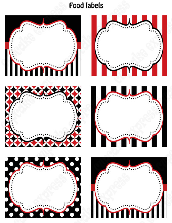 9 Images of Black Food Tags Printables