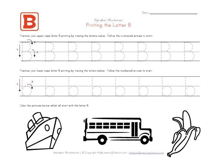 Printable Alphabet Letter B Worksheets
