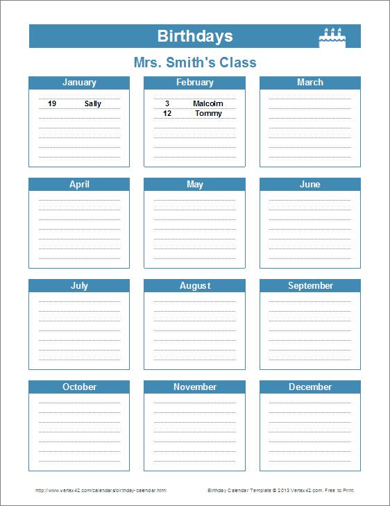 8 Images of Printable Birthday Calendar Reminder