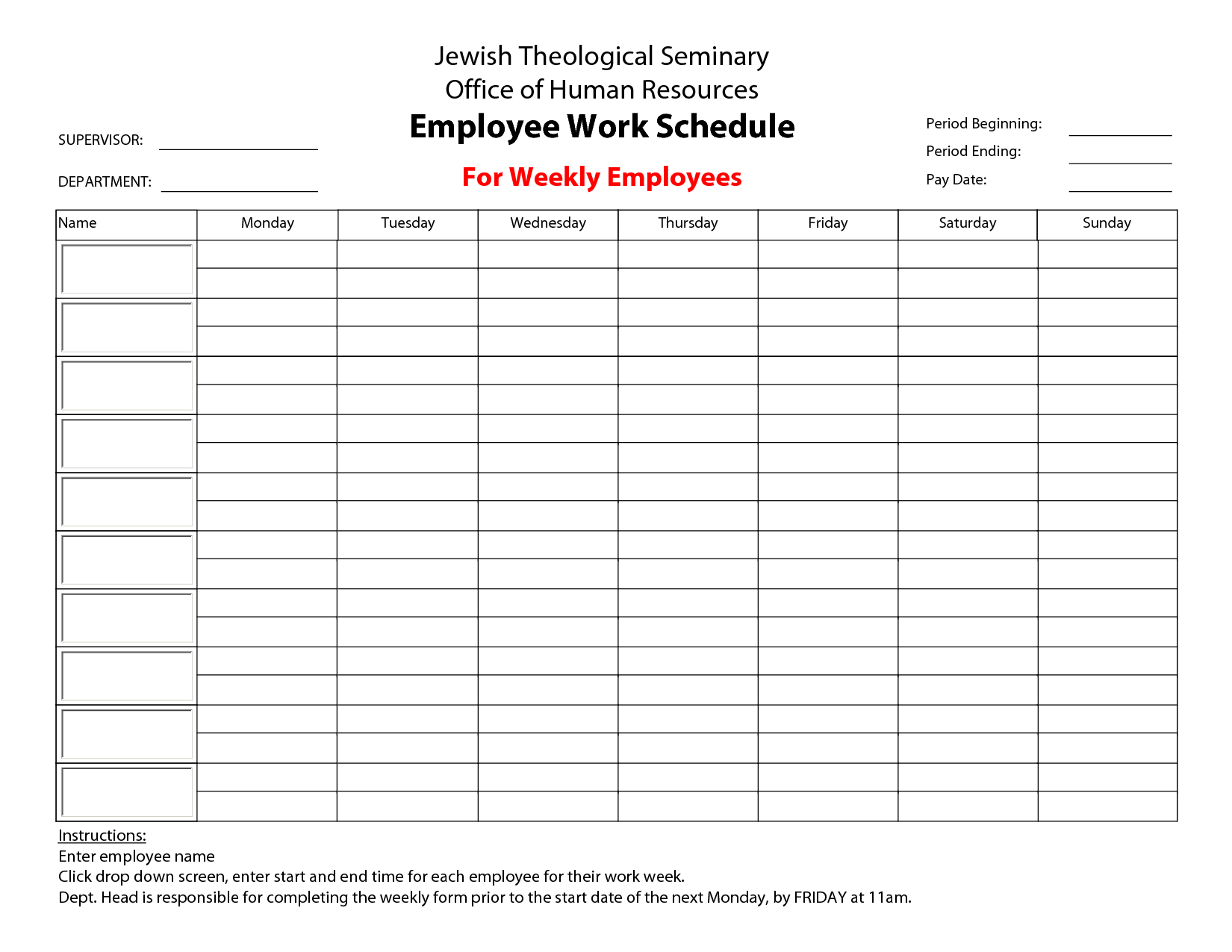 8 best images of printable blank weekly employee availability printable employee work schedule. Black Bedroom Furniture Sets. Home Design Ideas