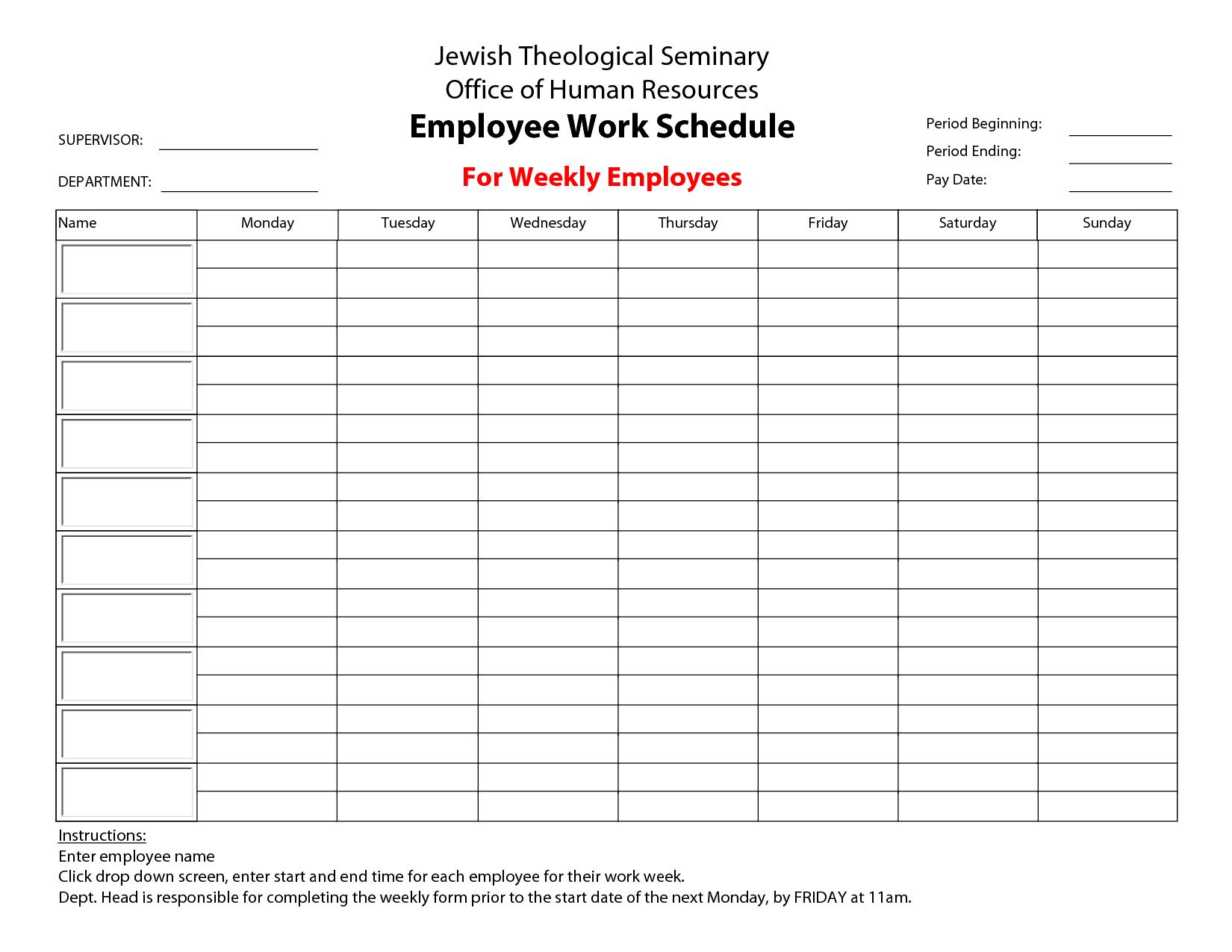 8 best images of printable blank weekly employee