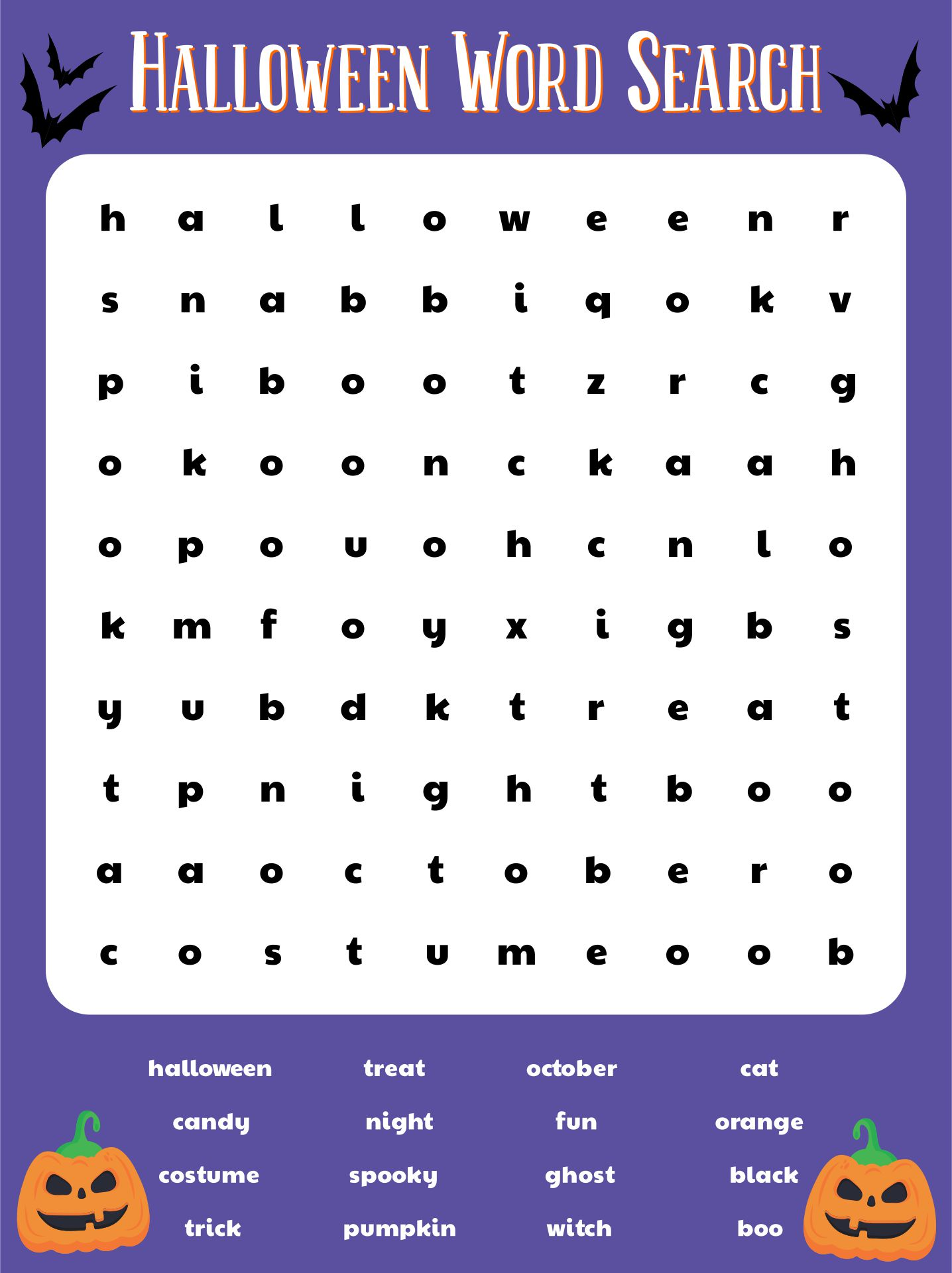 4 Images of Free Printable Halloween Word Search Puzzles